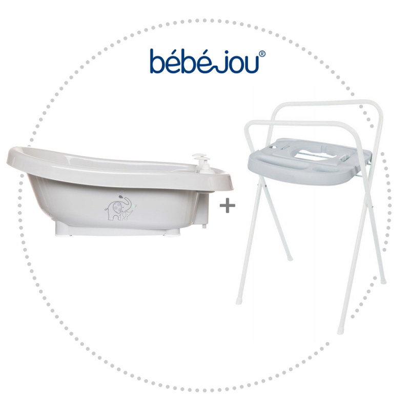 BÉBÉ JOU Vanička Click Ollie + Kovový stojan Click na vaničku Bébé-Jou 103 cm Light Grey
