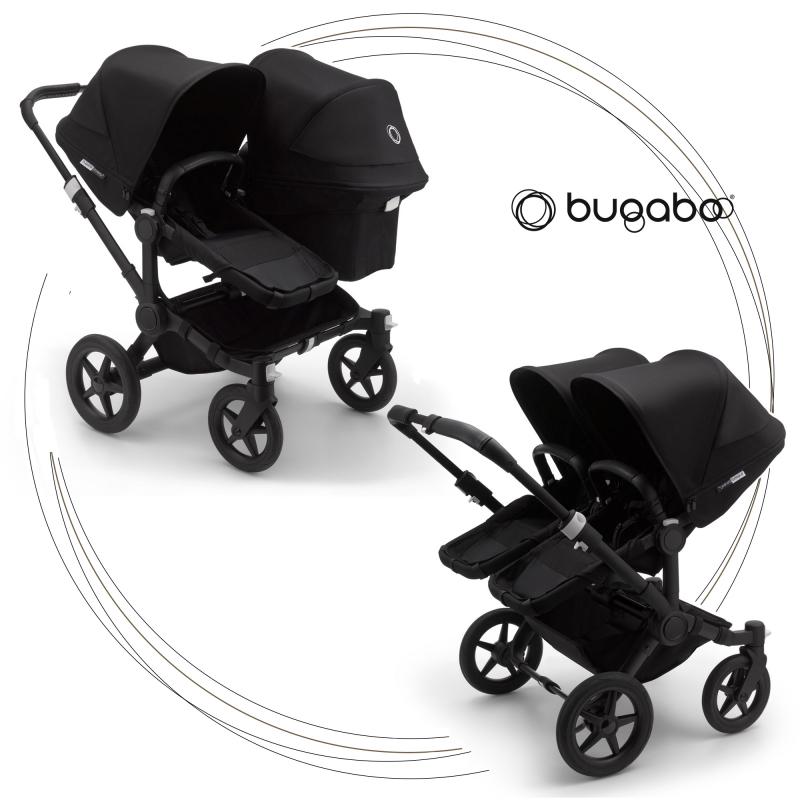 BUGABOO Donkey 3 Duo Podvozok BLACK poťah športového sedadla, hlboká vanička BLACK strieška BLACK