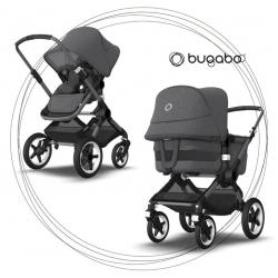 BUGABOO Fox 3 - 2. kombinácia Podvozok ALU poťah športového sedadla, hlboká vanička BLACK strieška BLACK