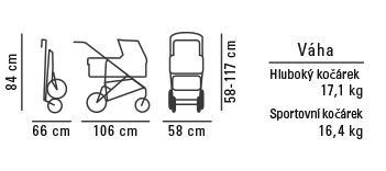 HARTAN Xperia športový kočík s ručnou brzdou, hlboká vanička 828