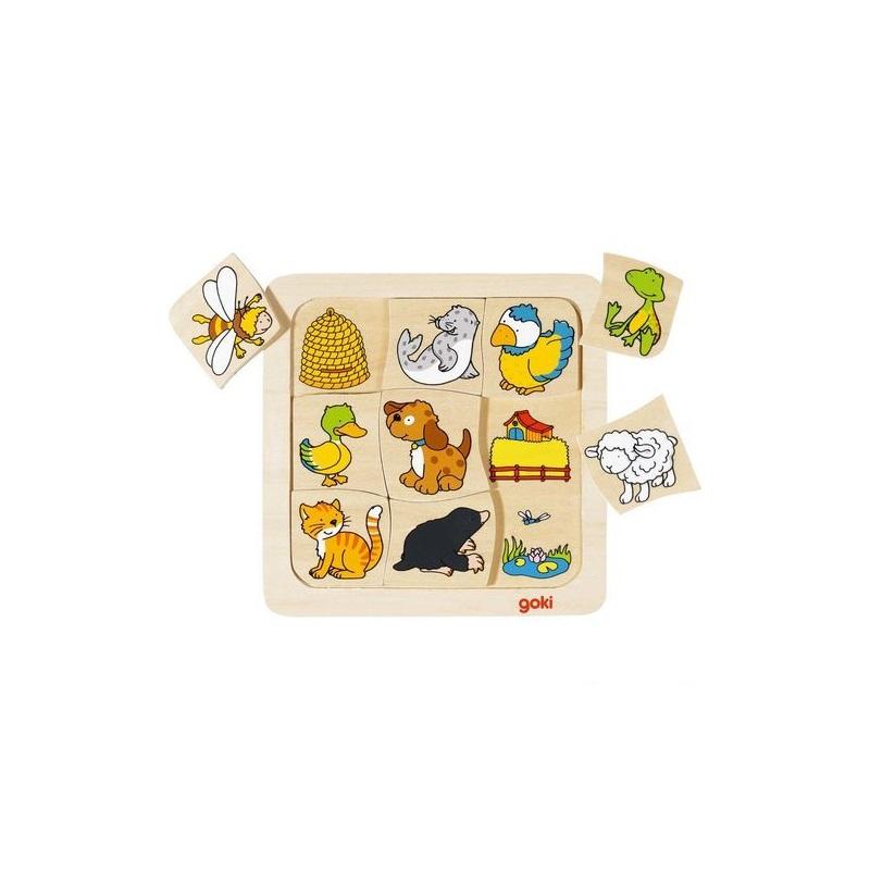 GOKI Drevené puzzle Kto kde býva
