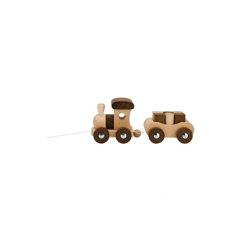 GOKI Ťahací drevený vláčik Vancouver + 6 kociek