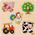 GOKI Vkladacie drevené puzzle Na farme