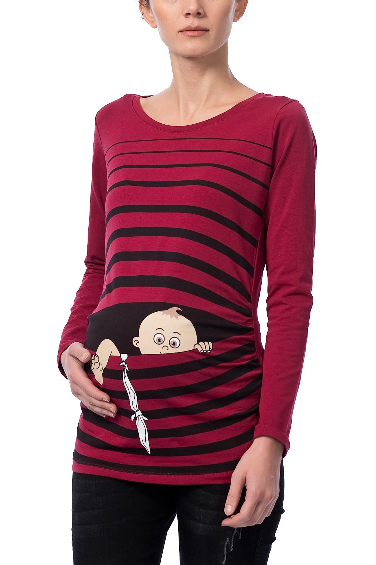 MAMIMODE Tričko s motívom Baby Flucht Dark Red
