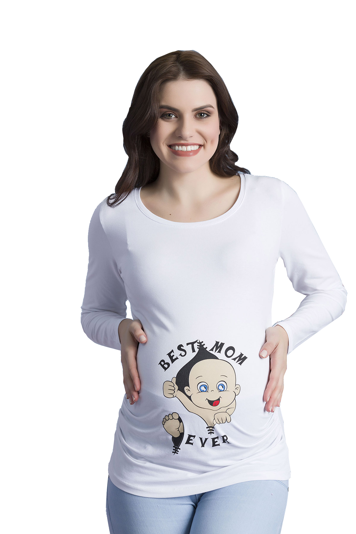 MAMIMODE Tričko s motívom Best Mom Ever White