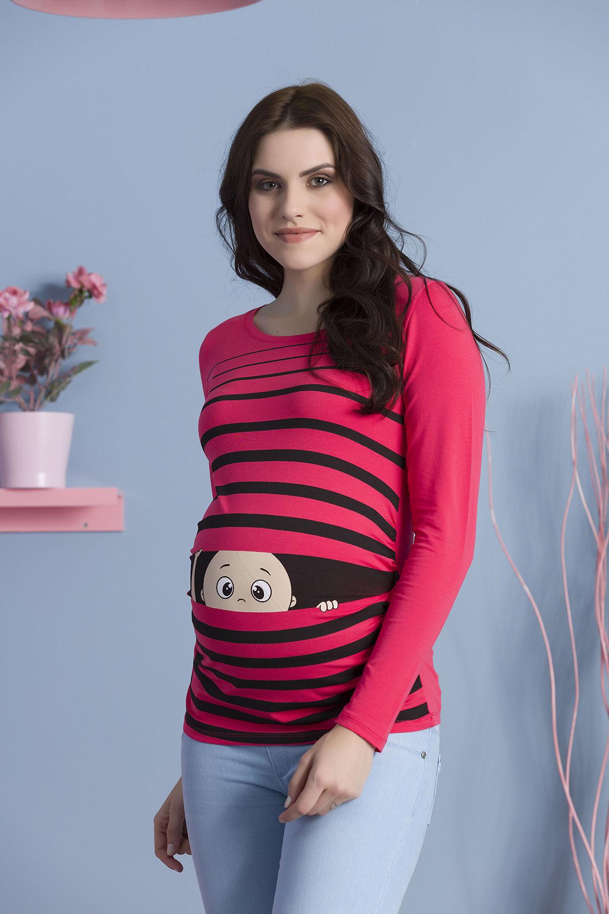 MAMIMODE Tričko s motívom Guck Guck Coral