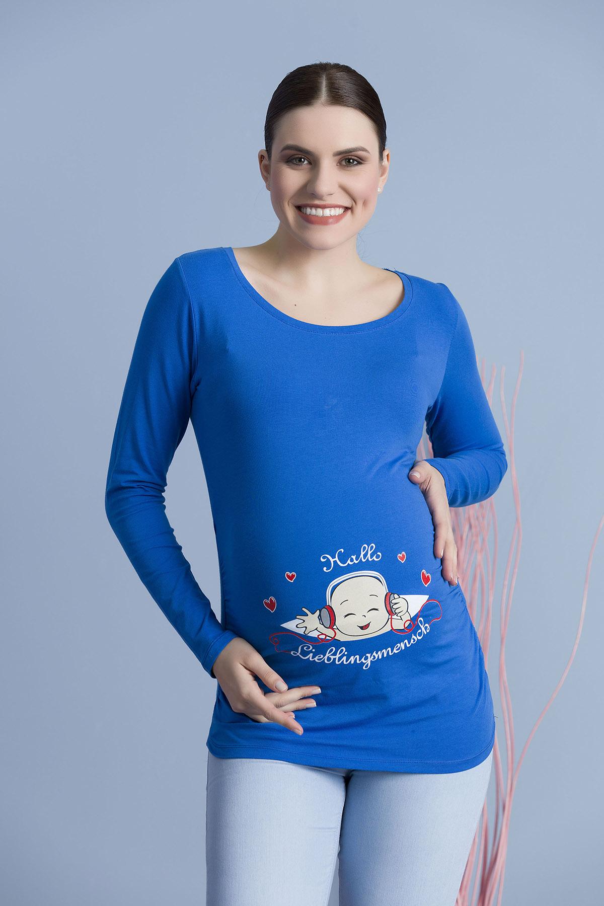MAMIMODE Tričko s motívom Hallo Lieblingsmensch Dark blue