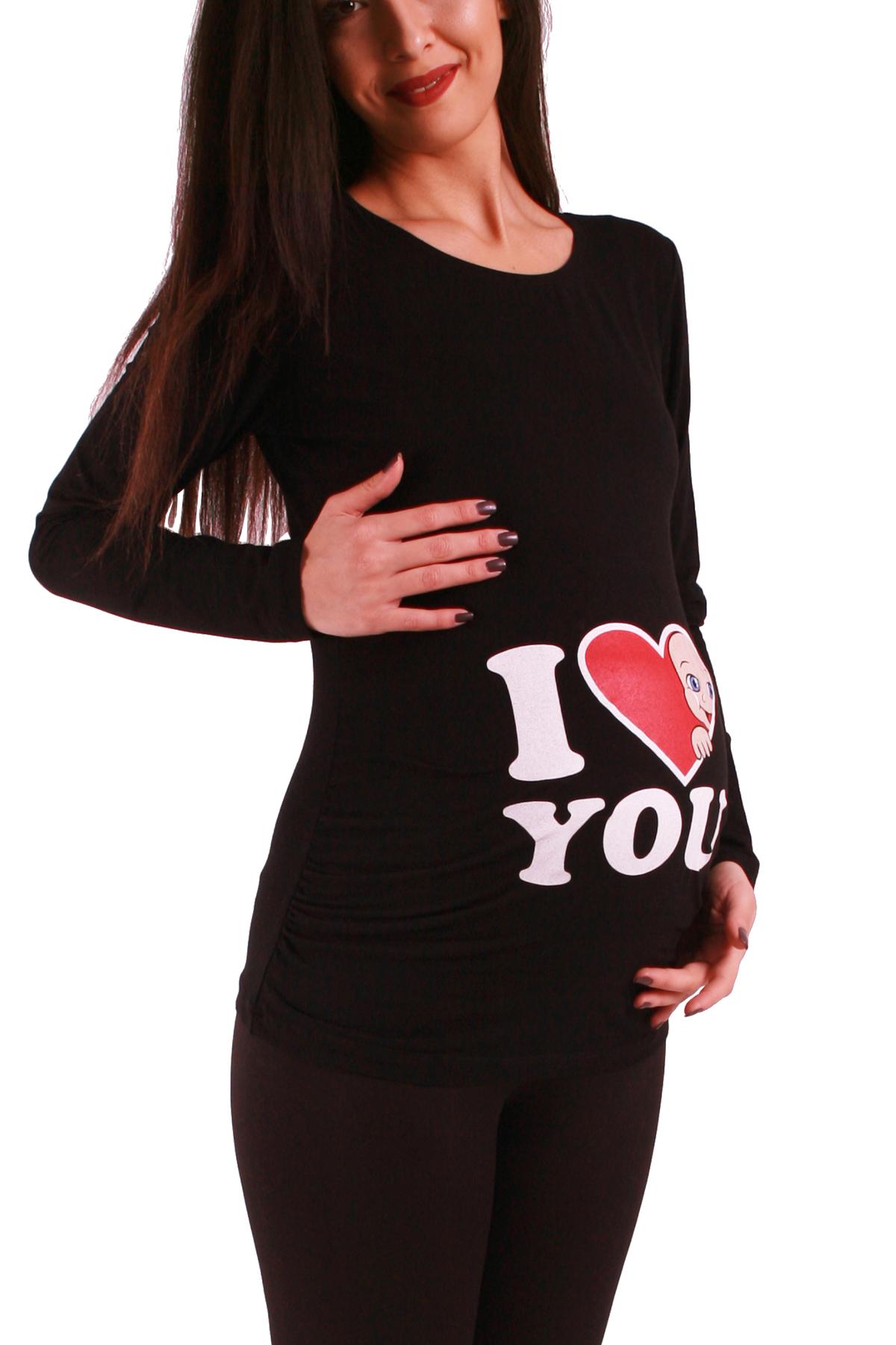 MAMIMODE Tričko s motívom I Love You Black