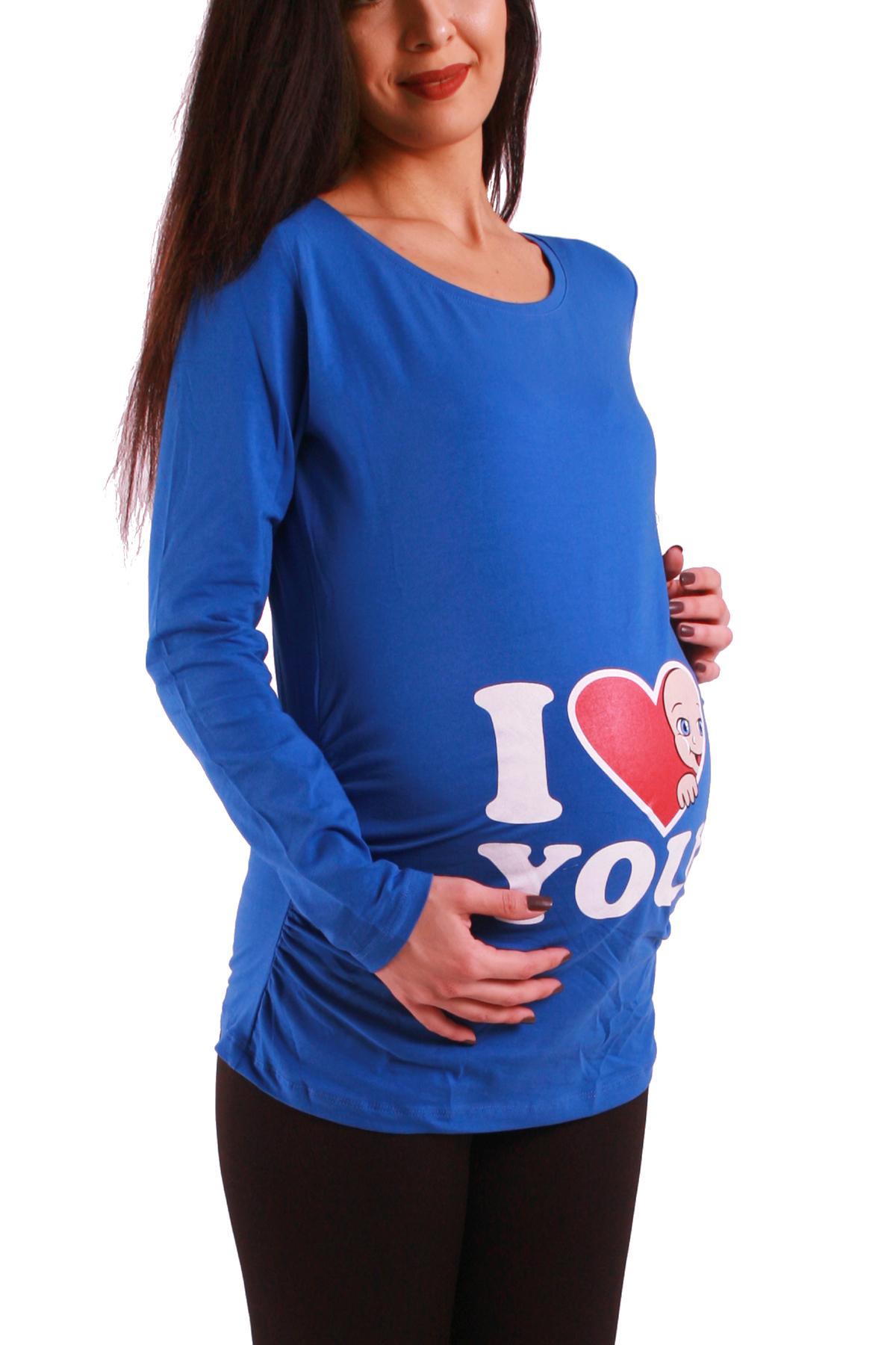 MAMIMODE Tričko s motívom I Love You Dark Blue