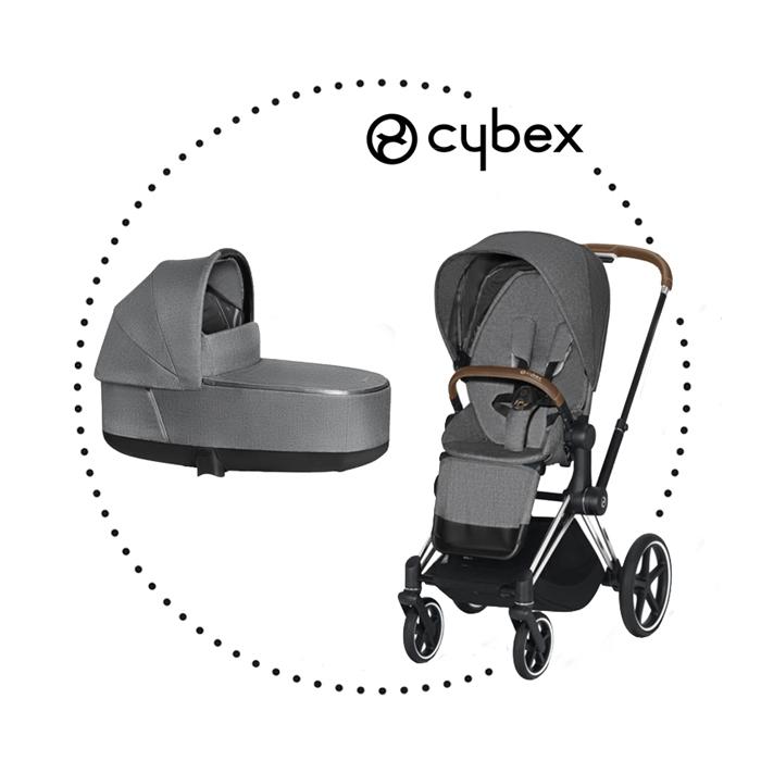 CYBEX Priam Chrome Brown športový kočík manhattan grey lux plus, hlboká vanička manhattan grey lux plus