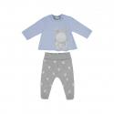 MAYORAL Polodupačky + tričko powder blue 2-4m