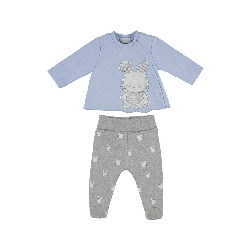 MAYORAL Polodupačky + tričko powder blue 6-9m