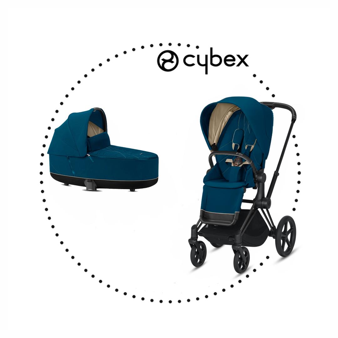 CYBEX Priam Matt Black športový kočík, hlboká vanička lux mountain blue