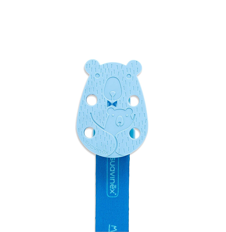 SUAVINEX Klip na cumlík Bear Meaningful life - Modrá