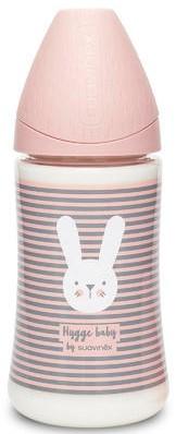 SUAVINEX Premium Fľaša 3-pozičný cumlík 270ml Prúžky - Ružová