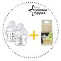 TOMMEE TIPPEE Set Fľaša 150 ml 2ks + Cumlíky pre Fľaše SLOW 0m+ 2ks