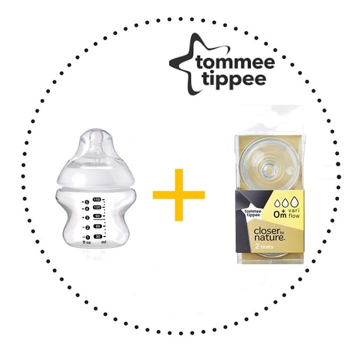 TOMMEE TIPPEE Set Fľaša 150 ml 1ks + Cumlíky pre Fľaše VARIFLOW 0m+ 2ks