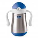 CHICCO Hrnček nerezový Chicco Power Cup so slamkou a rúčkami 18m+, modrý