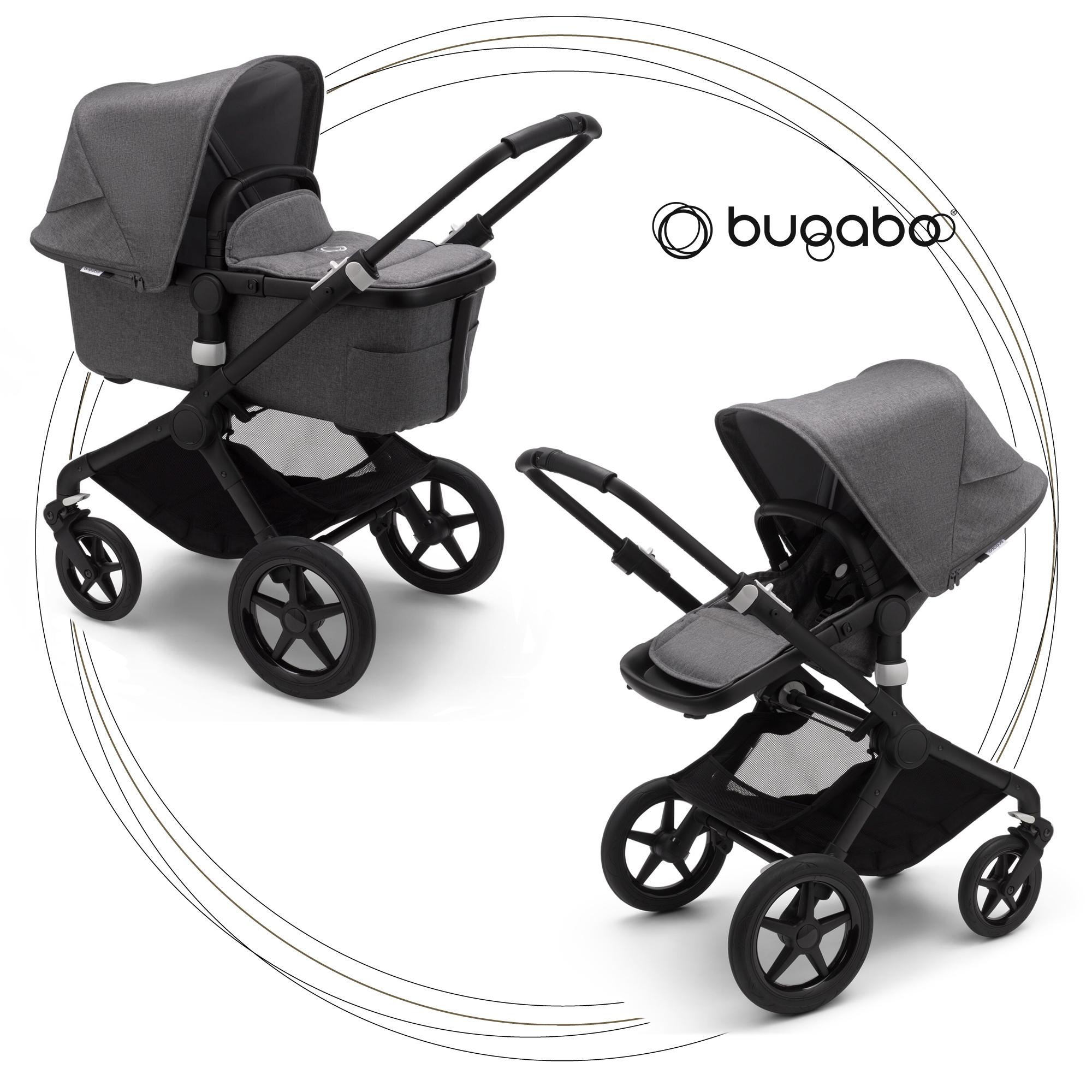 BUGABOO Fox 2 - 2. kombinácia Podvozok BLACK, poťah športového sedadla, hlboká vanička GREY MELANGE strieška GREY MELANGE