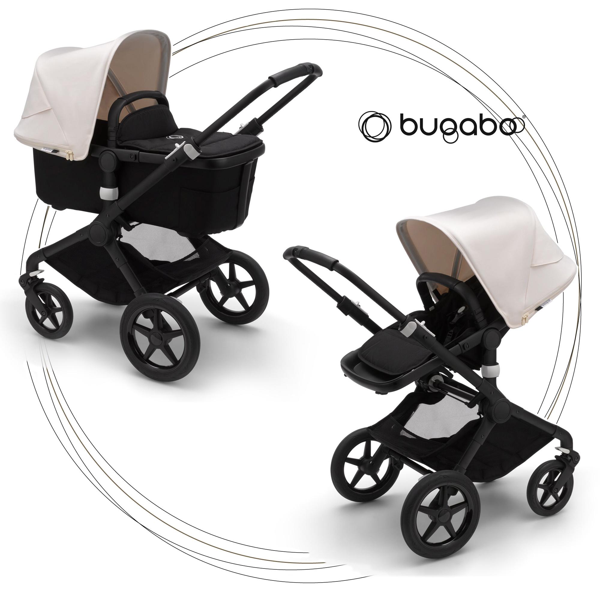 BUGABOO Fox 2 - 2. kombinácia Podvozok BLACK poťah športového sedadla, hlboká vanička BLACK strieška FRESH WHITE