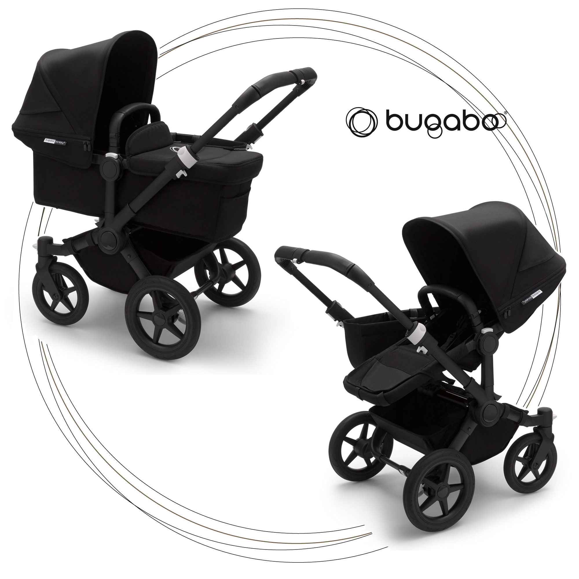 BUGABOO Donkey 3 Mono 2. kombinácia Podvozok BLACK poťah športového sedadla, hlboká vanička BLACK strieška BLACK