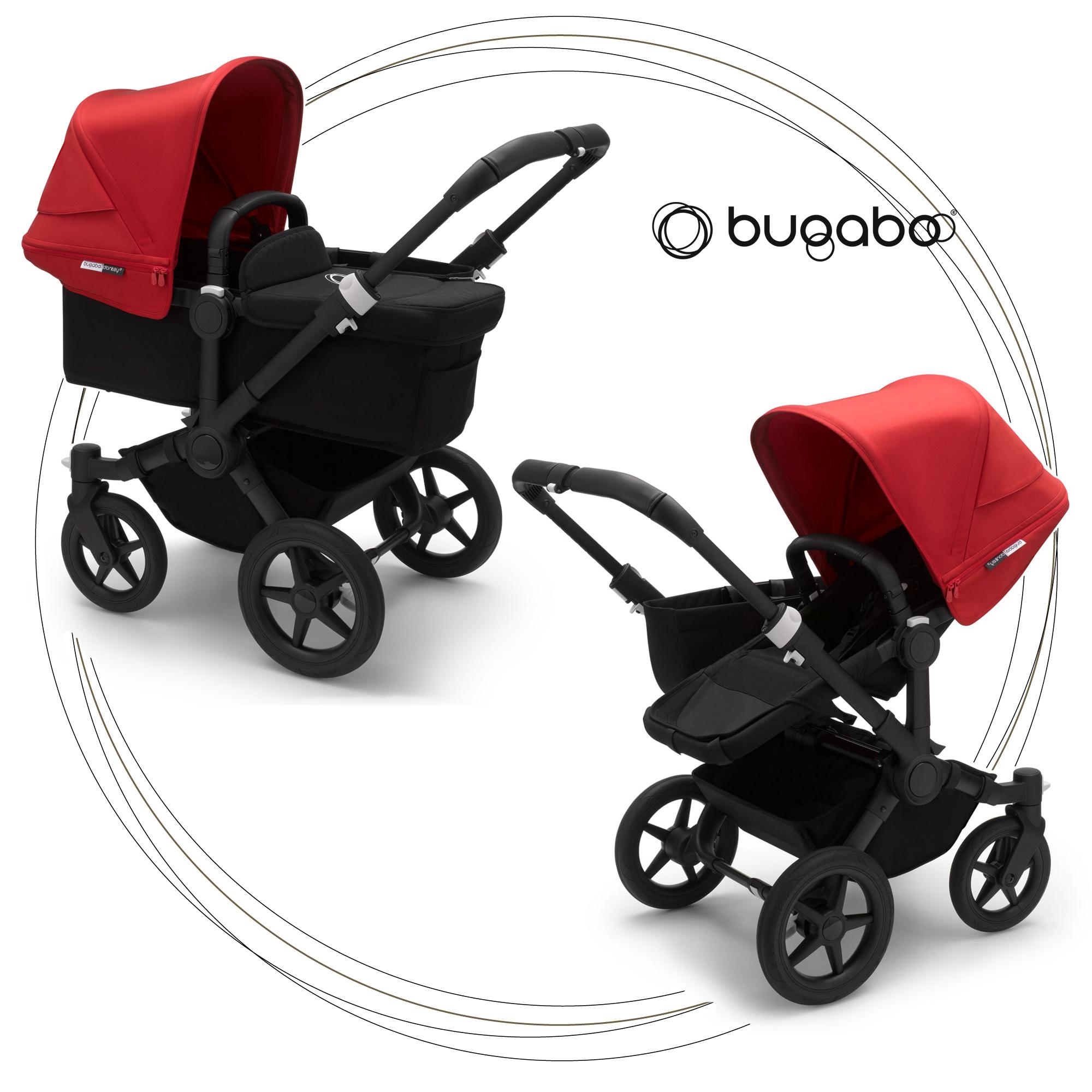 BUGABOO Donkey 3 Mono 2. kombinácia Podvozok BLACK poťah športového sedadla, hlboká vanička BLACK strieška RED