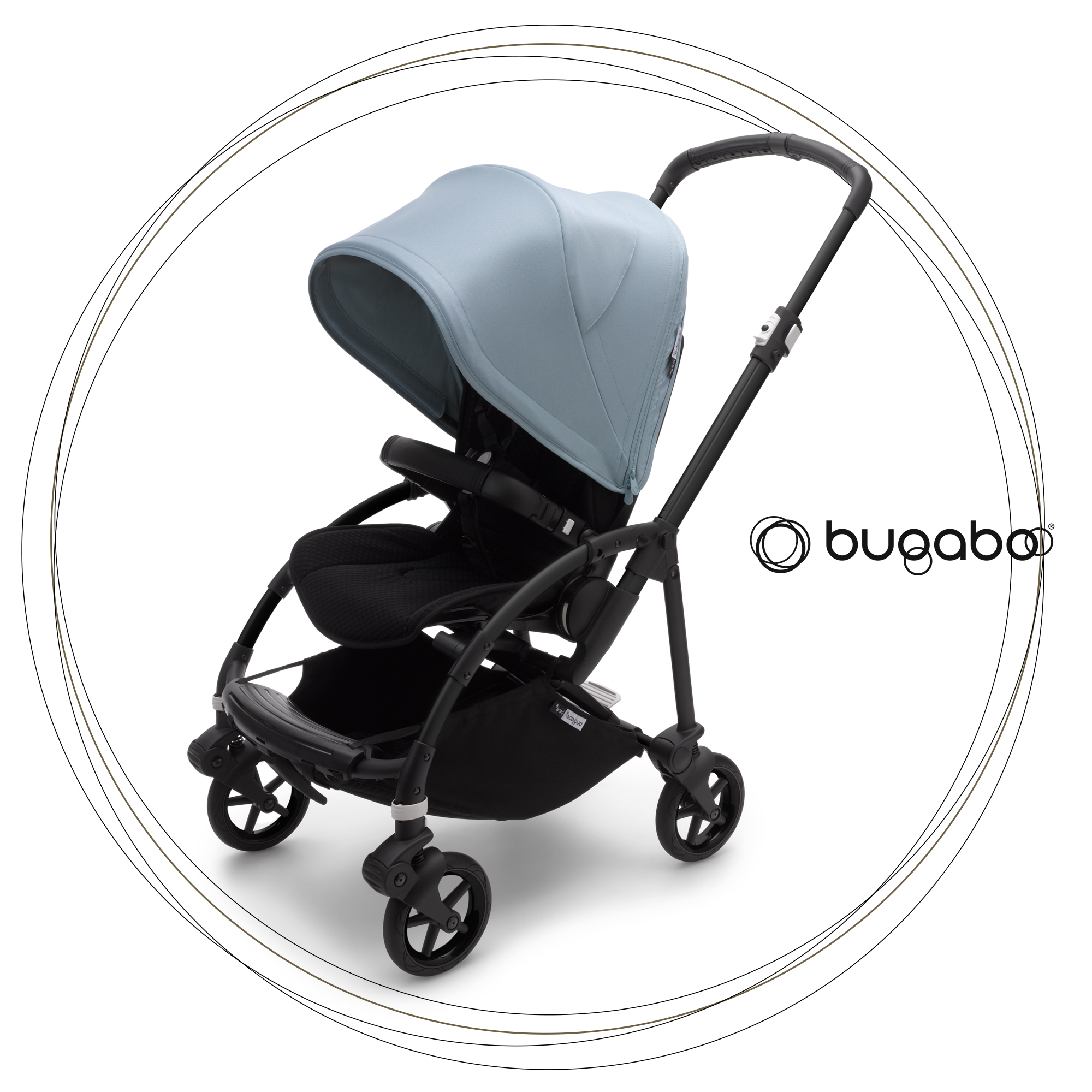 BUGABOO Bee 6 Podvozok BLACK poťah športového sedadla BLACK strieška VAPOR BLUE