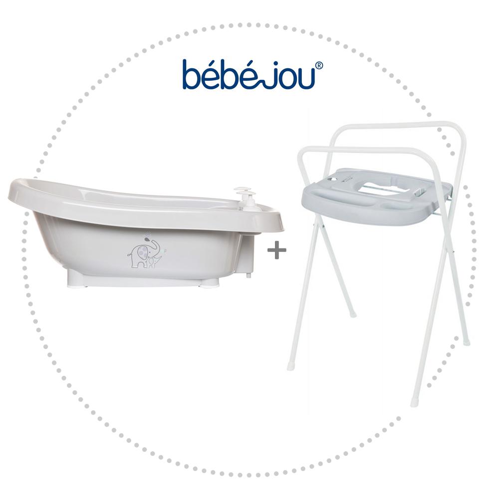 BÉBÉ JOU Termovanička Click Ollie + Kovový stojan Click na vaničku Bébé-Jou 103 cm Light Grey
